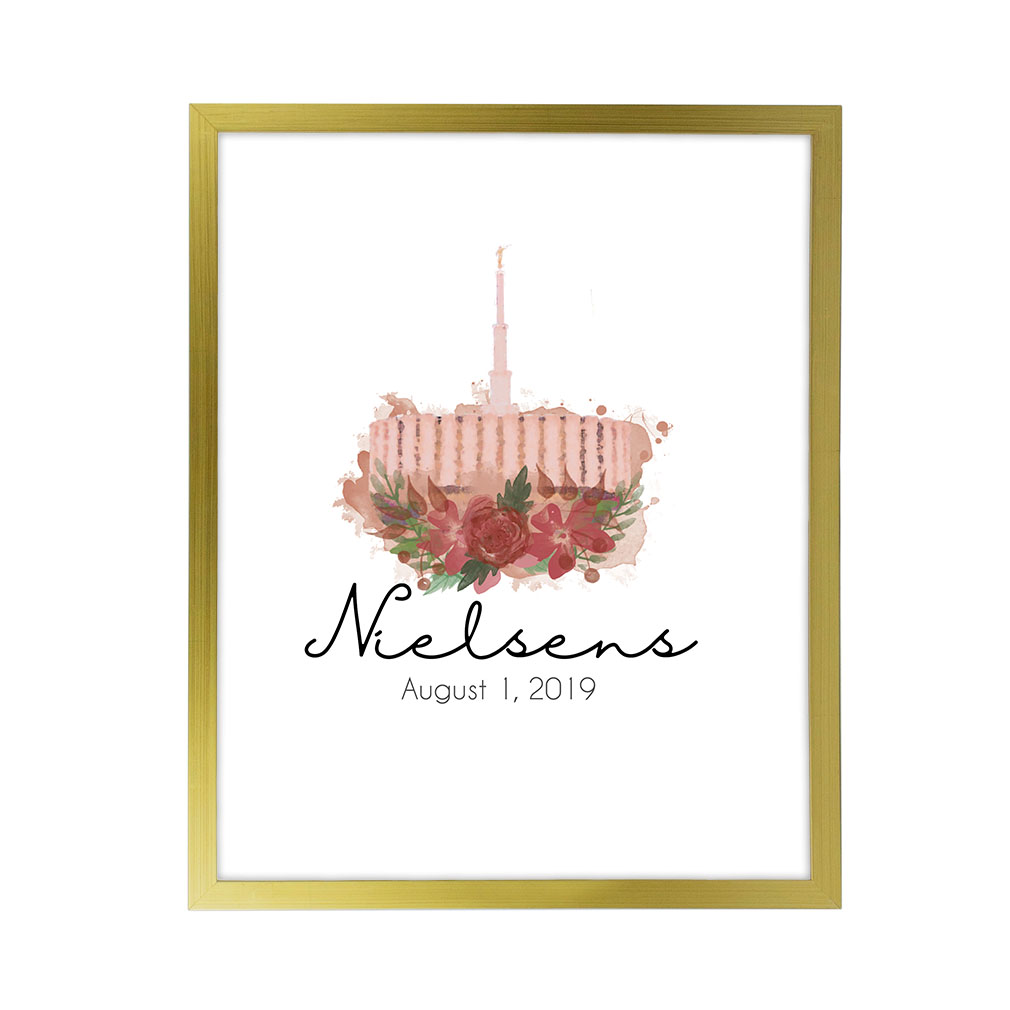 Personalized Rose Watercolor Temple Print - Gold - LDP-FR-ART-ROSETEMP-GLD