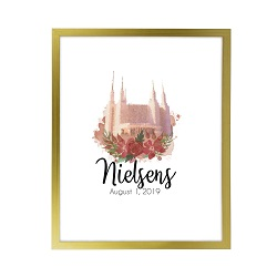 Personalized Rose Watercolor Temple Print - Gold lds poster, lds temple poster, lds temple vector poster