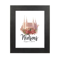 Personalized Rose Watercolor Temple Print - Gold Pinstripe lds poster, lds temple poster, lds temple vector poster