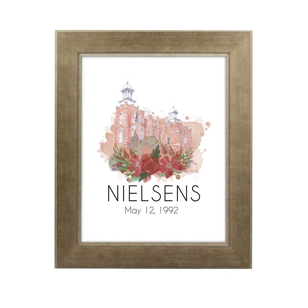 Personalized Rose Watercolor Temple Print - Sandstone - LDP-FR-ART-ROSETEMP-SAND