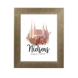 Personalized Rose Watercolor Temple Print - Sandstone lds poster, lds temple poster, lds temple vector poster