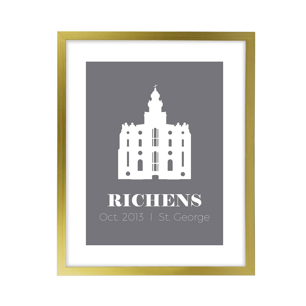 Personalized Filled Temple Print - Gold lds poster, lds temple poster, lds temple vector poster