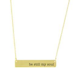 Be Still My Soul Bar Necklace bar necklace, text necklace, antique-looking necklace, text bar necklace, gold bar necklace, be still, be still my soul, be still my soul necklace