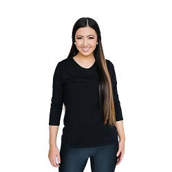 Basic Black V-Neck 3/4 Sleeve Shirt - HL-3.4-BLACK