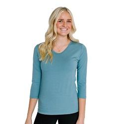 Basic Silver Azure V-Neck 3/4 Sleeve Shirt - HL-3.4-SILVERAZURE