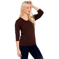 Basic Dutch Brown V-Neck 3/4 Sleeve Shirt