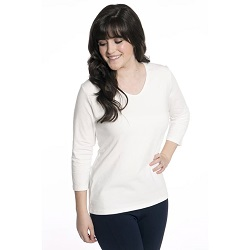 Basic Cream V-Neck 3/4 Sleeve Shirt - HL-3.4-CREAM