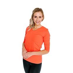 Basic Living Orange Coral V-Neck 3/4 Sleeve Shirt - HL-3.4-LIVINGORANGECORAL
