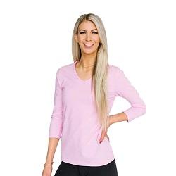 Basic Sweet Lilac V-Neck 3/4 Sleeve Shirt