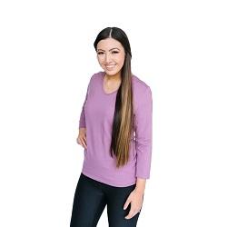 Basic Lavender Purple V-Neck 3/4 Sleeve Shirt - HL-3.4-LAVENDERPURPLE