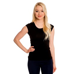 Basic Black Cap Sleeve Shirt