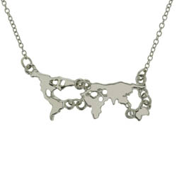 silver map necklace