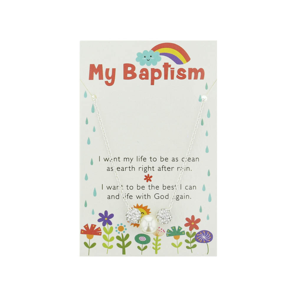 White Sparkle Baptism Necklace - CF-P70041