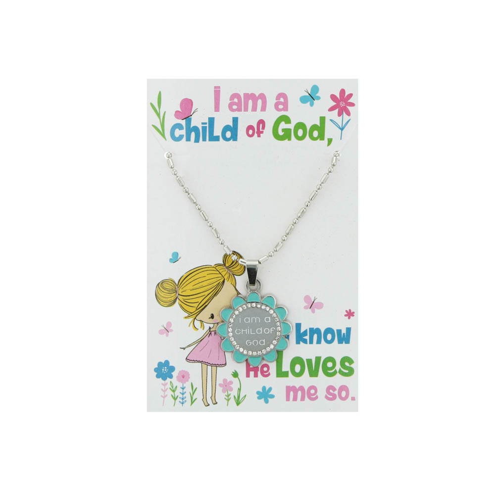 Flower Child of God Necklace - Teal - CF-P78294