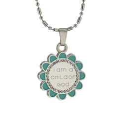 Silver flower child of god necklace in teal
