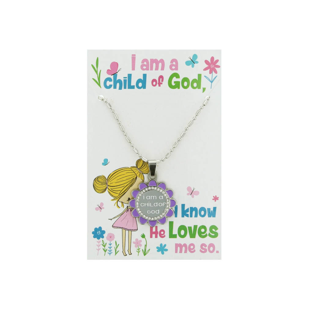 Flower Child of God Necklace - Purple - CF-P78295