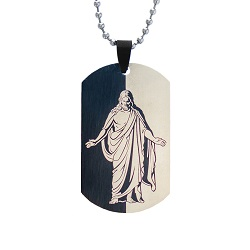 Christus Dog Tag Necklace - Black