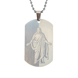 Christus Dog Tag Necklace - Silver