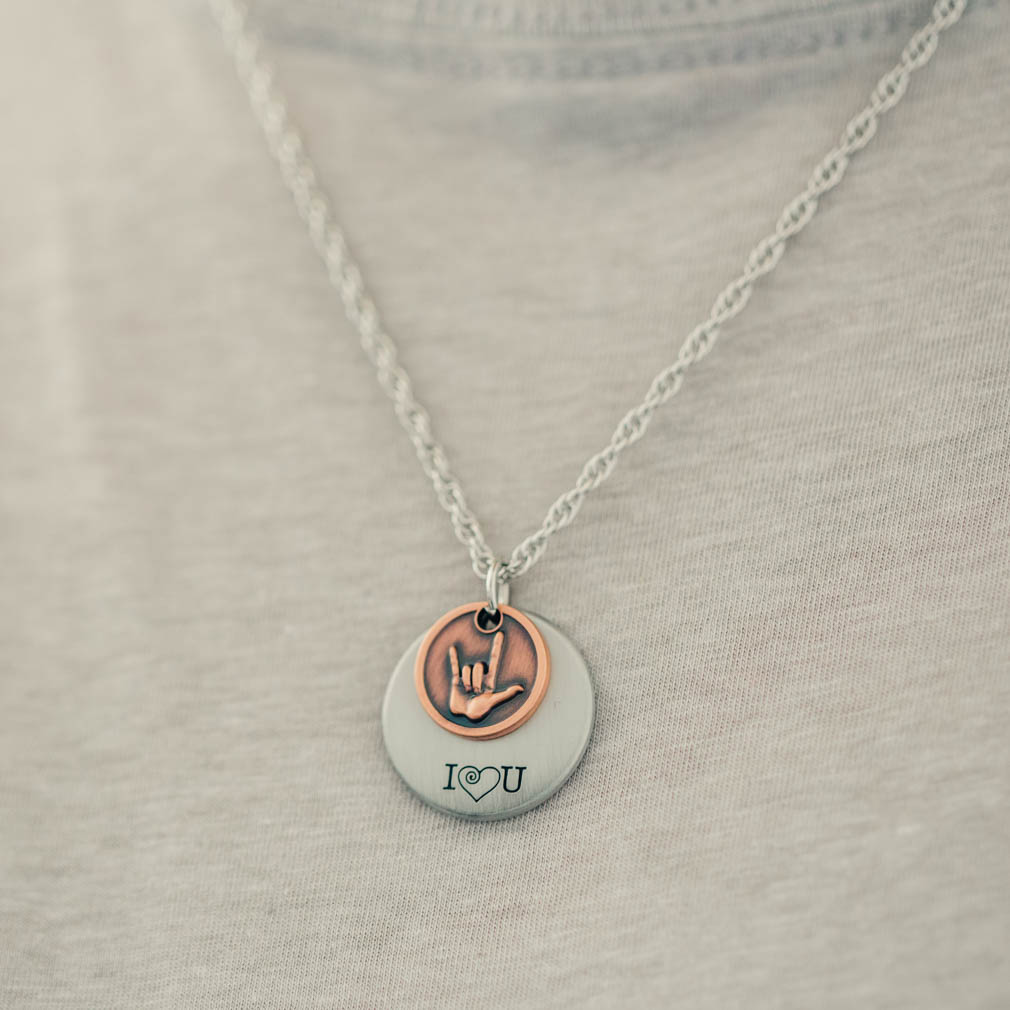 I Love You American Sign Language 2-Piece Necklace - RM-JNL067