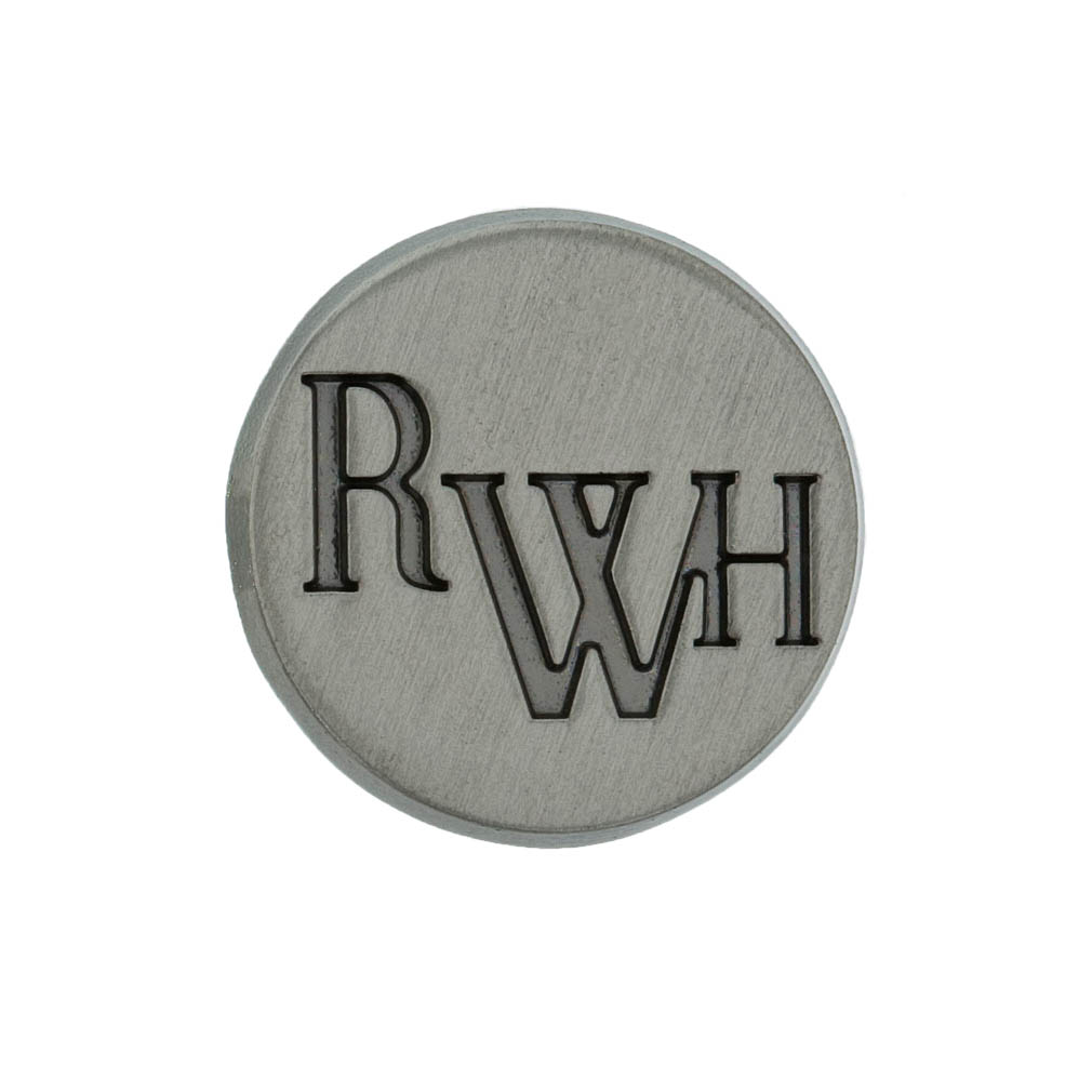 """Circle Tie Tack that reads """"RWH"""", the shortened version of Return with Honor"""