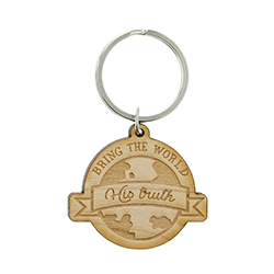 Bring the World His Truth Wood Keychain lds keychains, lds keychain, lds missionary keychain