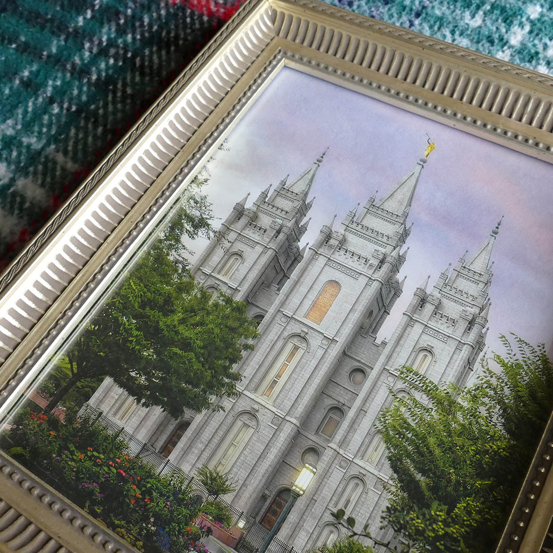 Salt Lake Temple Eden - 8x10 Gold Ribbed Frame - LDP-ART-EDEN-GLDFRM