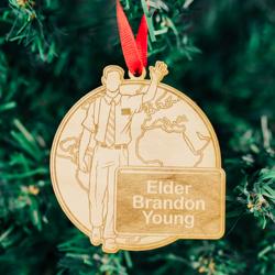World Elder Mission Ornament - Wood elder missionary ornament, elder mission ornament, lds mission ornament