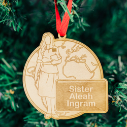 World Sister Mission Ornament - Wood sister missionary ornament, sister mission ornament, lds mission ornament, lds missionary ornament