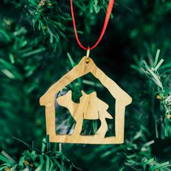 Olivewood Donkey Ornament olivewood ornament, donkey ornament, stable ass ornament