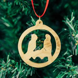Olivewood Circle Nativity Ornament olivewood ornament, nativity ornament