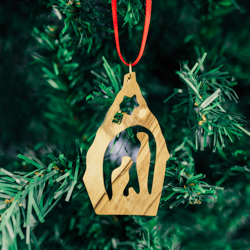 Olivewood Holy Family Nativity Ornament olivewood ornament, nativity ornament, holy family ornament