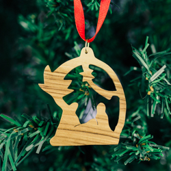 Olivewood Palm Tree Nativity Ornament olivewood ornament, nativity ornament