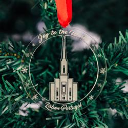 Lisbon Temple Ornament - Acrylic lisbon temple ornament, lds lisbon temple, lisbon temple decor, lds temple ornament, christmas ornament, christmas gifts, lds christmas gifts, lds decor, lds temple decor, mormon gifts,