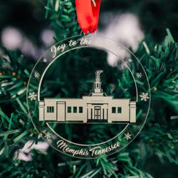 Memphis Temple Ornament - Acrylic memphis temple ornament, lds memphis temple, memphis temple decor, lds temple ornament, christmas ornament, christmas gifts, lds christmas gifts, lds decor, lds temple decor, mormon gifts,