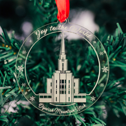 Oquirrh Mountain Temple Ornament - Acrylic oquirrh mountain temple ornament, lds oquirrh mountain temple, oquirrh mountain temple decor, lds temple ornament, christmas ornament, christmas gifts, lds christmas gifts, lds decor, lds temple decor, mormon gifts,