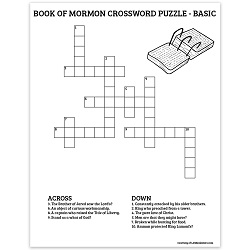 Book of Mormon Crossword Puzzle - Basic book of mormon crossword puzzle, book of mormon activity page, lds activity pages, lds activity page, printable book of mormon crossword puzzle