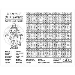 Names of Our Savior Word Search - Printable names of our savior word search, jesus word search, names of jesus word search, free lds printables