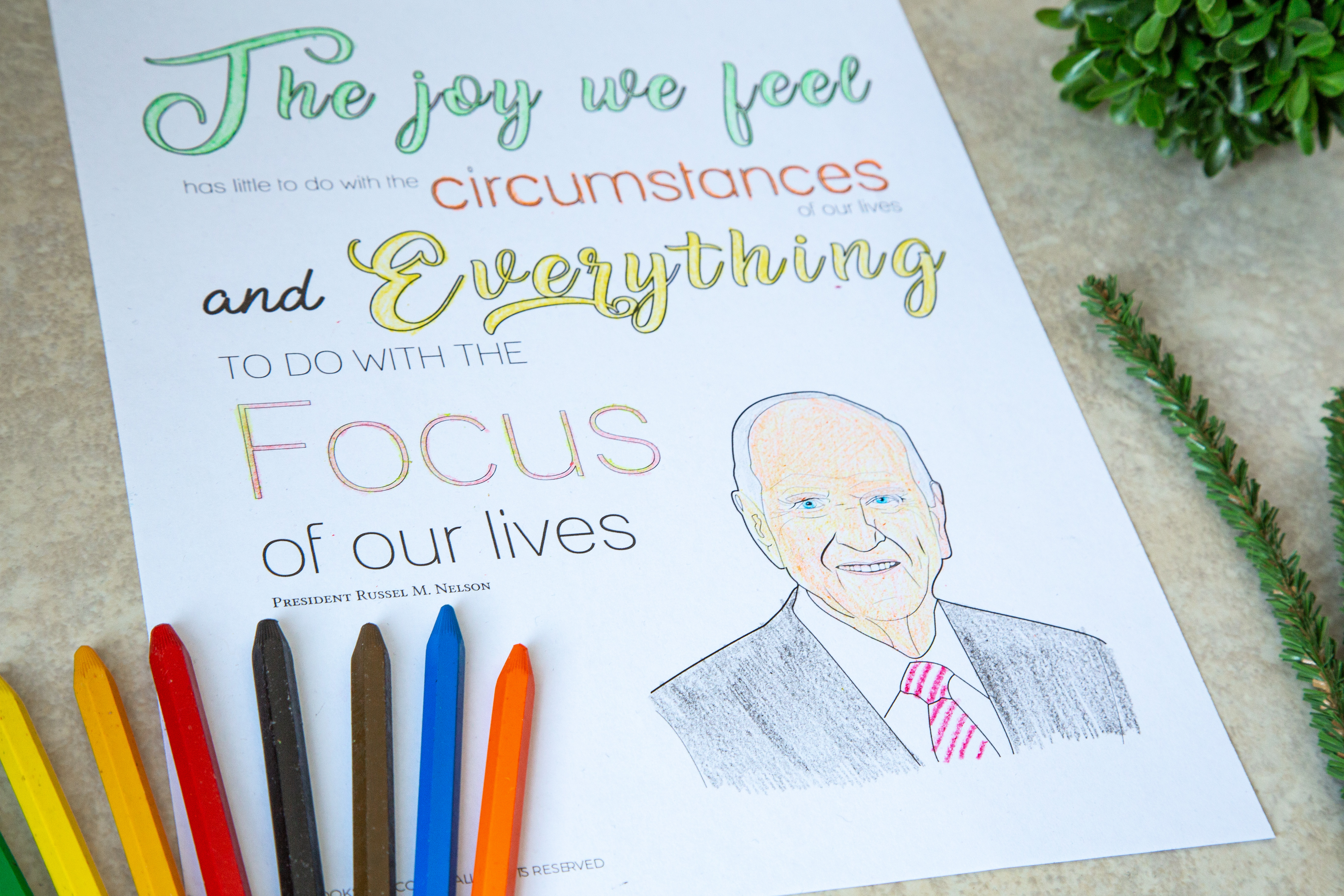 President Nelson Birthday Coloring Page - Printable - LDPD-COLOR-95NELSON