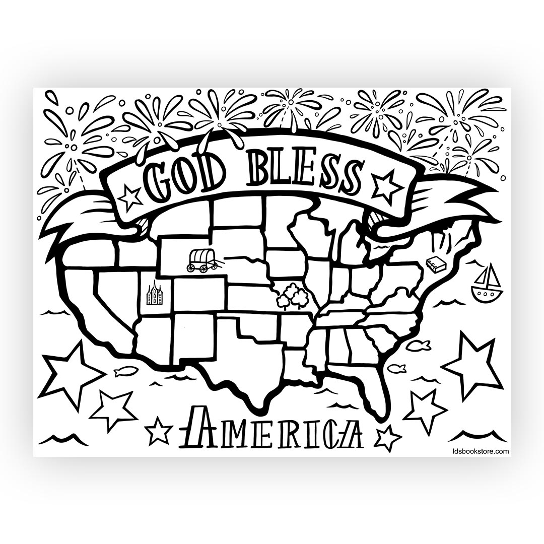 God Bless America Coloring Page - Printable fourth of july printable, god bless america printable, god bless america coloring page, july 4 printable, july 4 coloring page