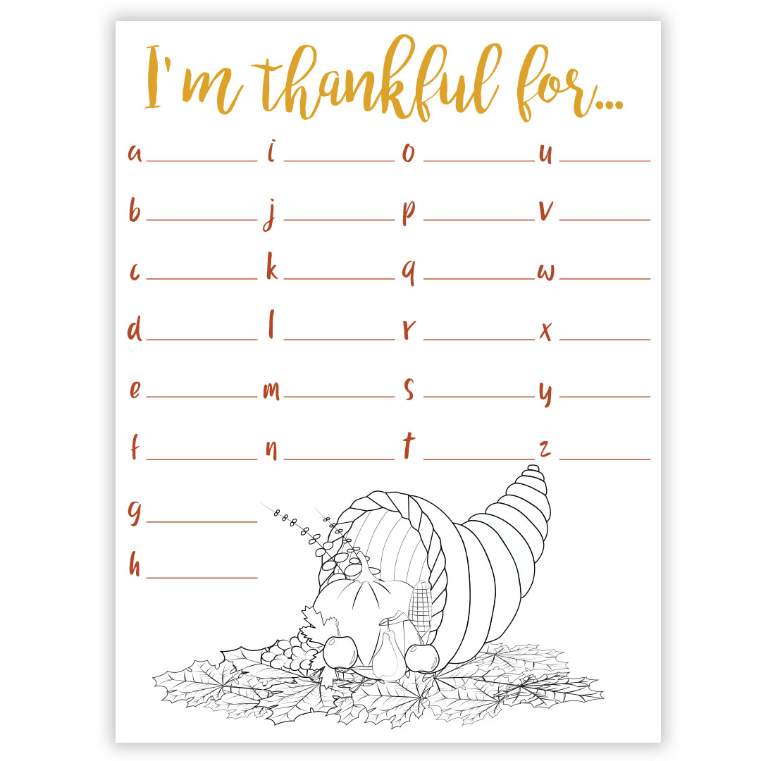 I'm Thankful For Gratitude Worksheet - Printable