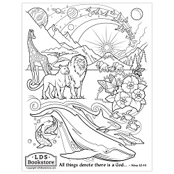 All Things Denote There is a God Coloring Page - Printable book of mormon coloring page, come follow me coloring page