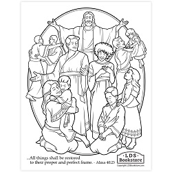 All Things Shall Be Restored Coloring Page - Printable book of mormon coloring page, come follow me coloring page
