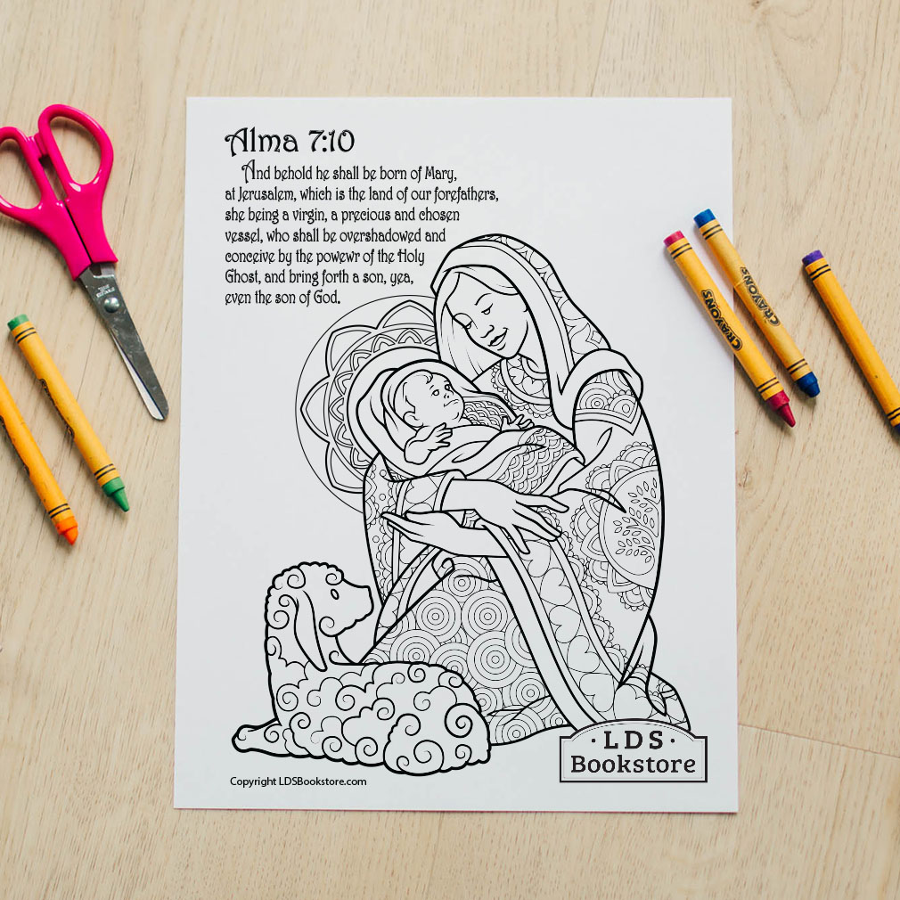 Mary & Baby Jesus Coloring Page - Printable - LDPD-PBL-COLOR-ALMA7
