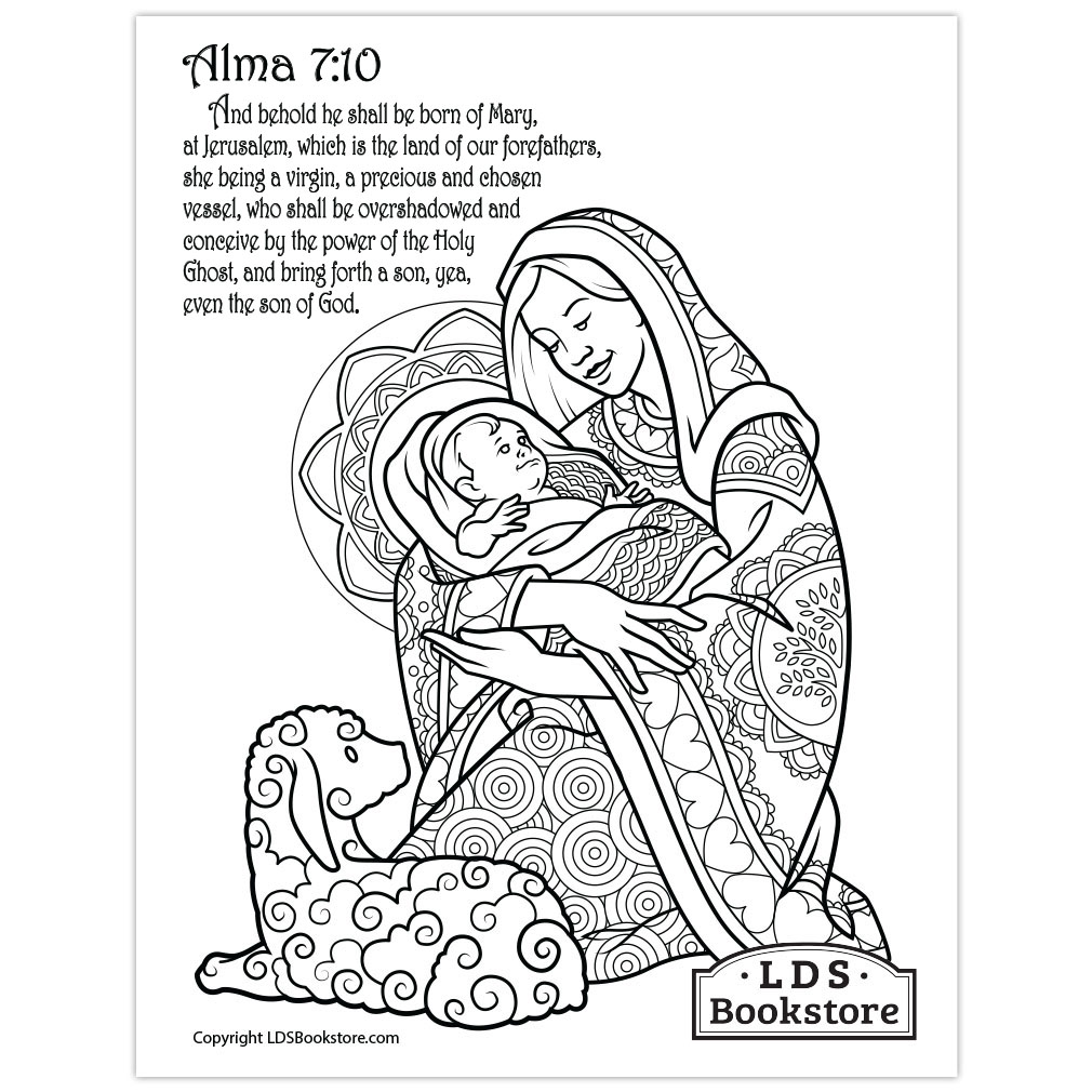 - Mary & Baby Jesus Coloring Page - Printable