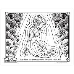 Pray Always Coloring Page - Printable  pray always coloring page, free lds coloring page, lds coloring page, come follow me activities, come follow me coloring page, doctrine and covenants coloring page