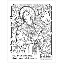 An Elect Lady Coloring Page - Printable free lds coloring page, lds coloring page, come follow me activities, come follow me coloring page, doctrine and covenants coloring page