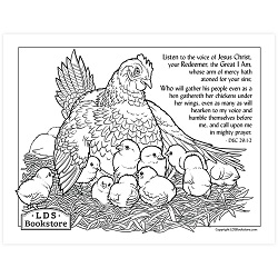 As a Hen Gathereth Her Chickens Coloring Page - Printable - LDPD-PBL-COLOR-DOCTCOV29