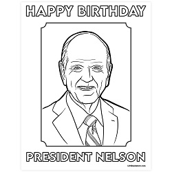 President Nelson Birthday Coloring Page - Printable president nelson coloring page