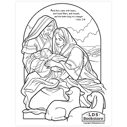 Holy Family Nativity Coloring Page - Printable free lds coloring page, nativity coloring page, christmas coloring page, come follow me coloring page