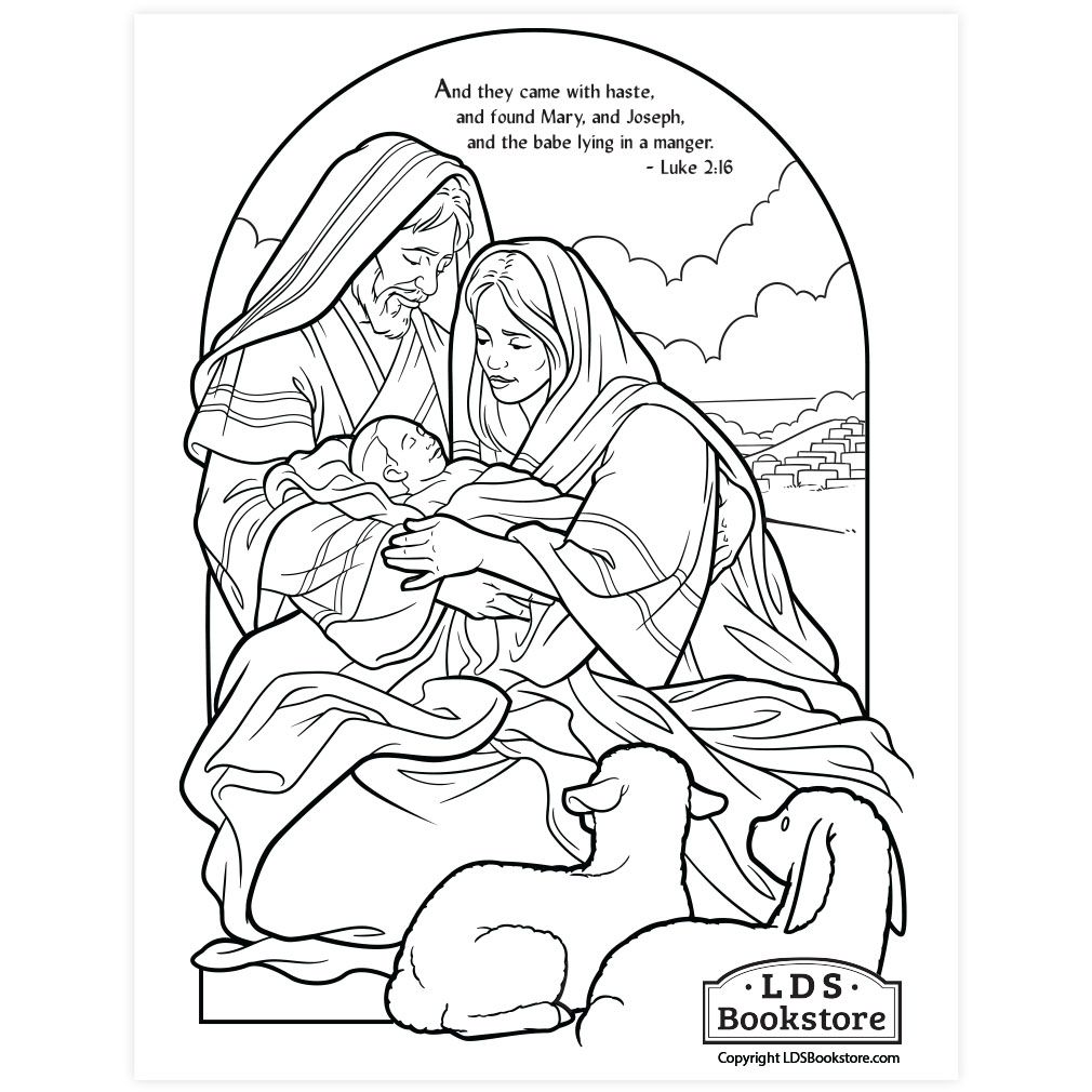 The Holy Family Nativity Coloring Page - Printable ...